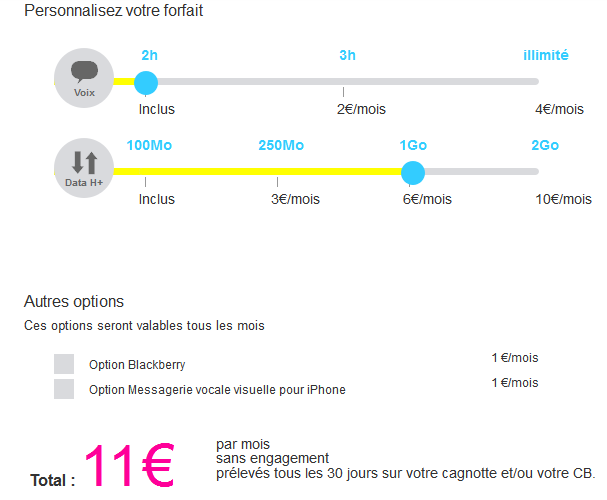 joe mobile, configuration